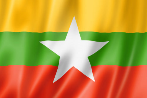 Burma Myanmar flag, three dimensional render, satin texture